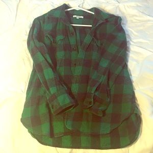 Madewell green and black flannel